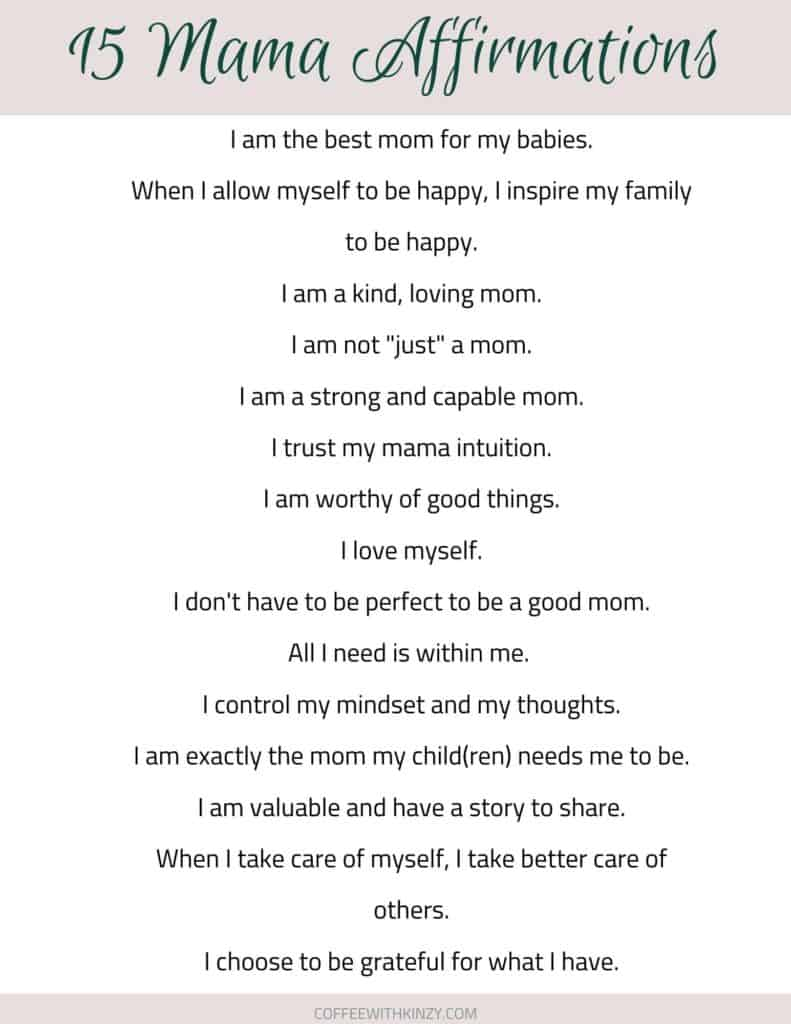 15 affirmations for moms