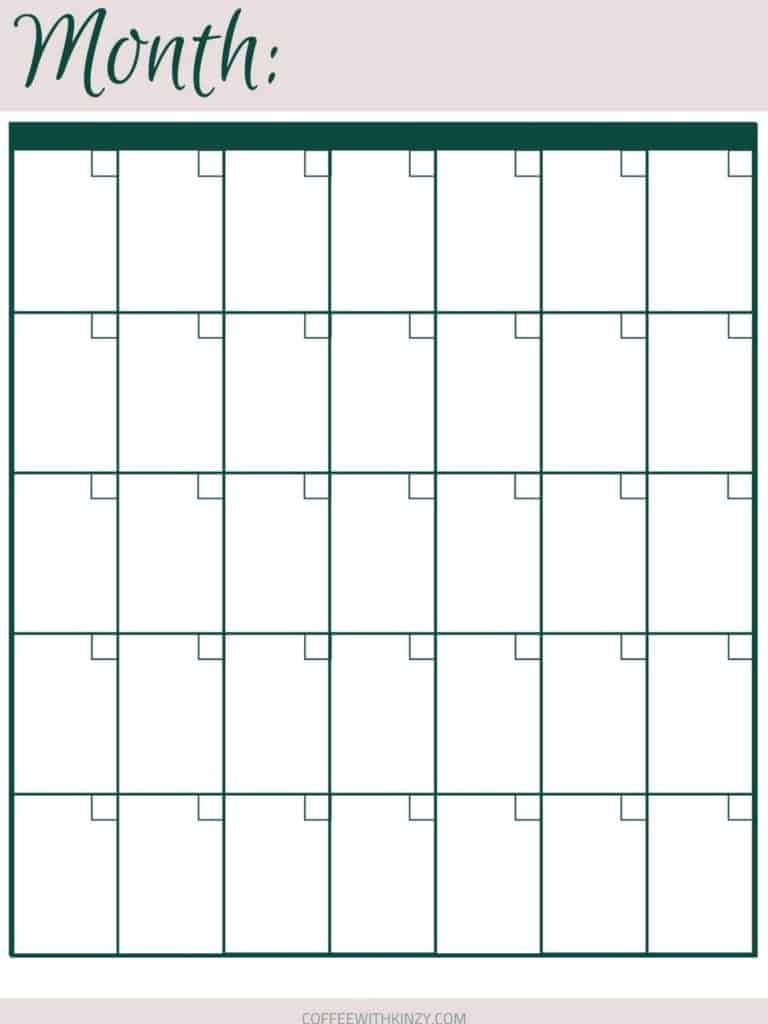 Free printable monthly calendar: planner printables for busy moms
