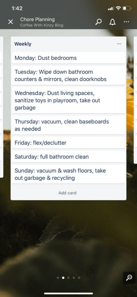 Weekly Cleaning Schedule for Moms