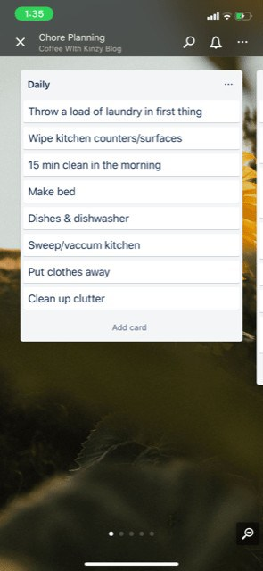 daily chores for moms