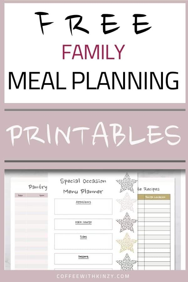 Free Family Meal Planning Printables