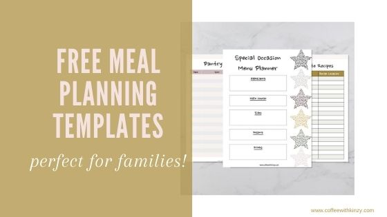 Printable free meal planning templates preview