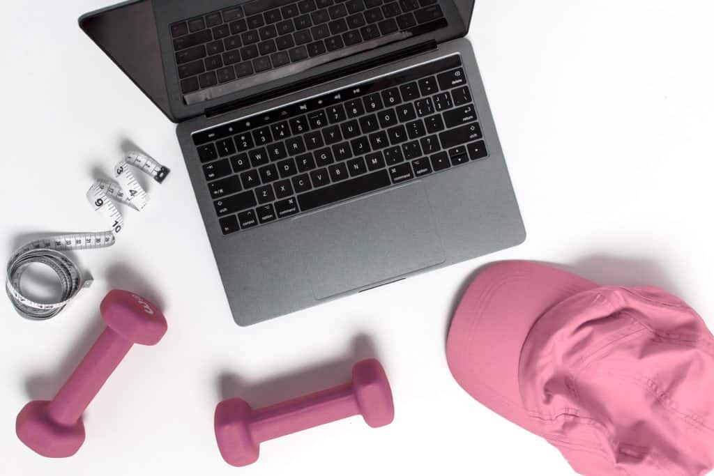 At Home Workouts for Moms: gear including weights, measuring, & hat