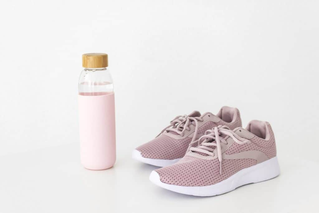 working out at home shoes and waterbottle