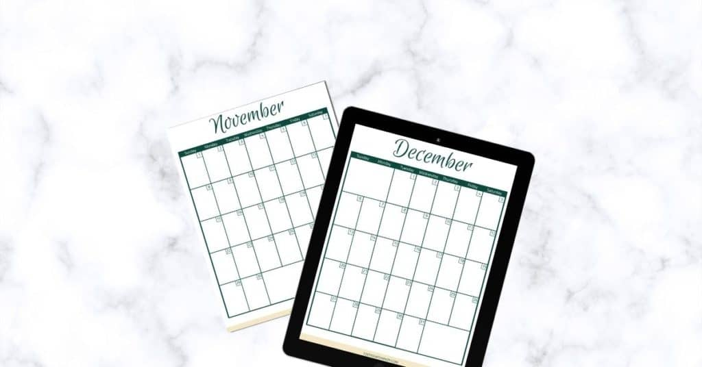 Free Holiday Planner: November and December 2020 Calendars