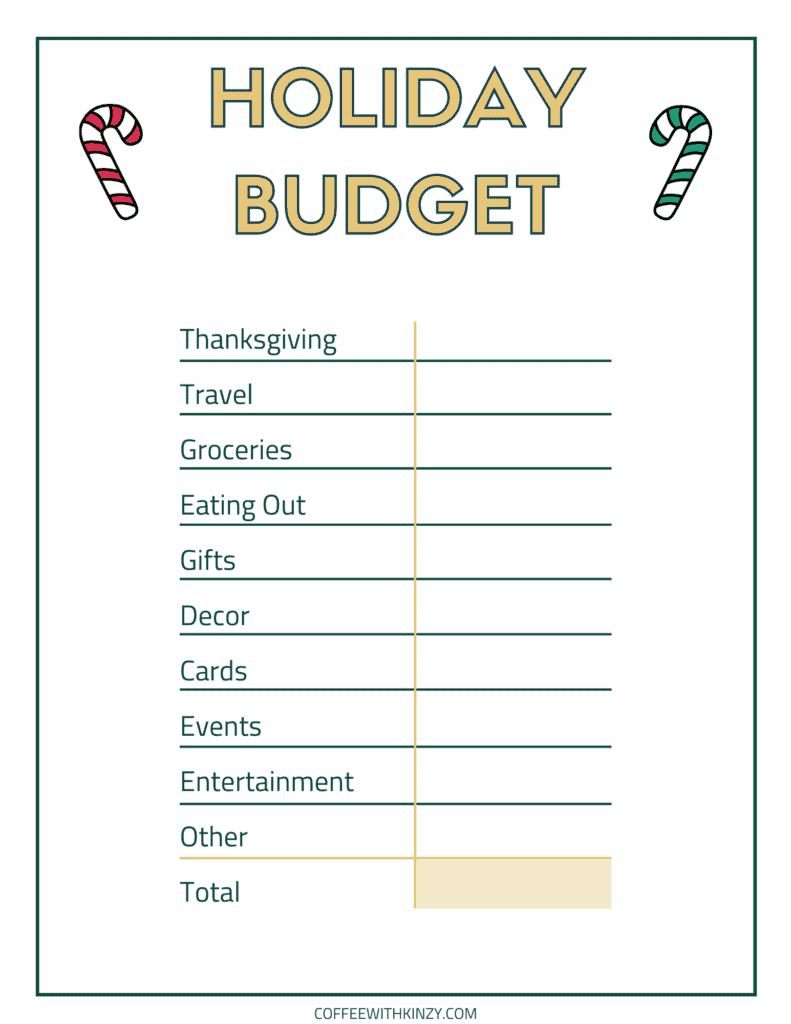 Holiday Budget Planner Free