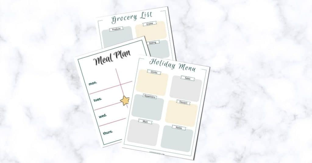 Free weekly meal plan template and free holiday menu planner