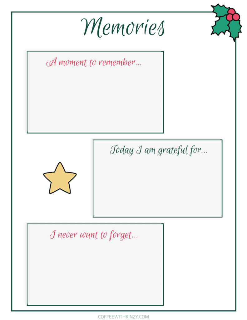 Document holiday memories with this printable template!
