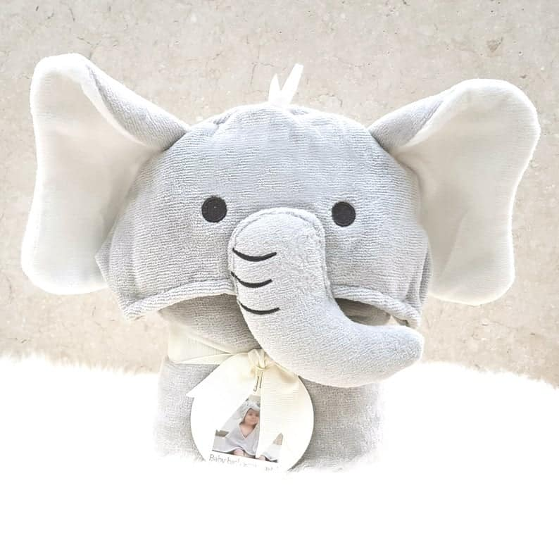Personalized hooded baby elephant towel