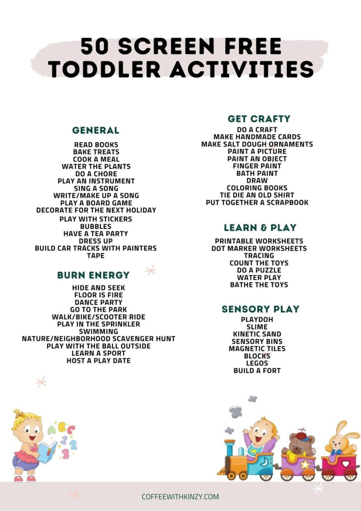 Printable List of Things to Do With Toddlers At Home