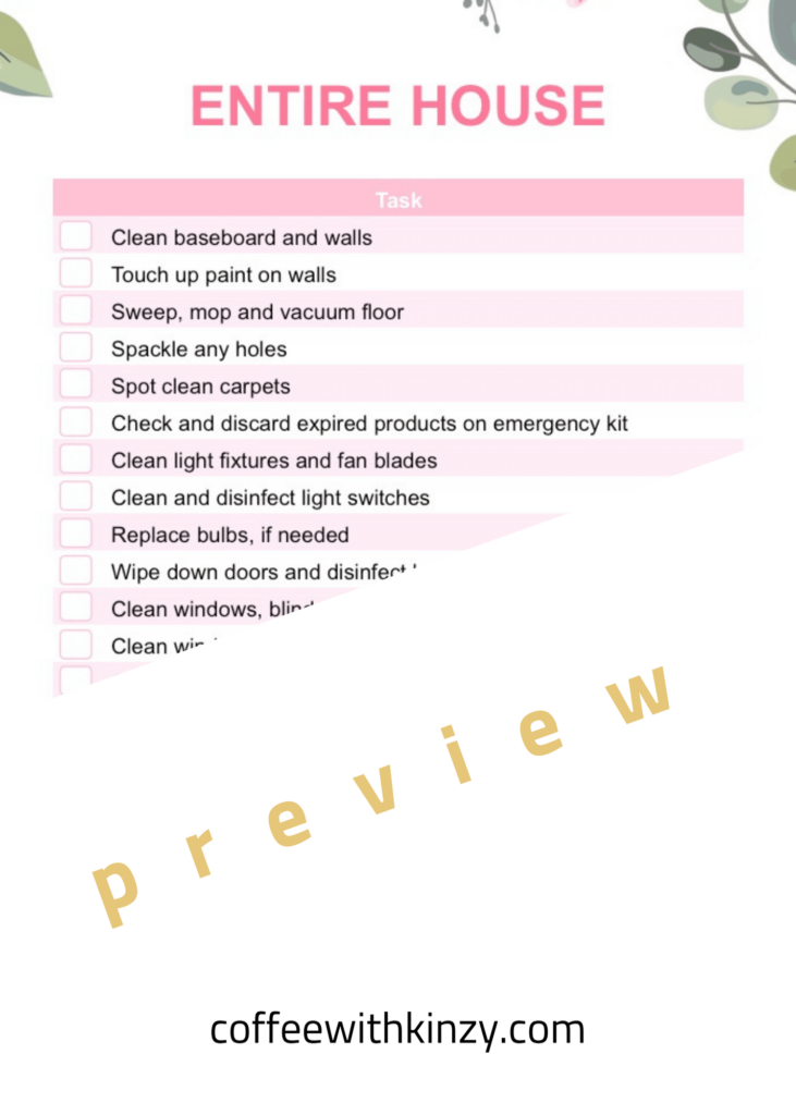 Entire House Spring Cleaning Checklist PDF