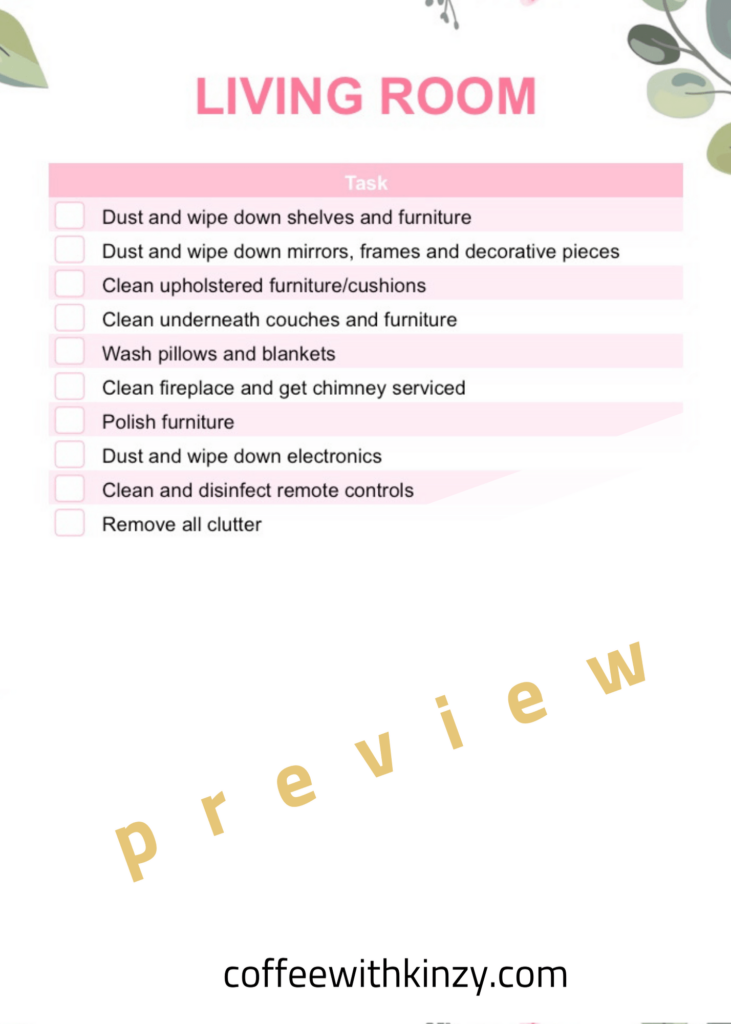 Living Room Spring Cleaning Checklist by Room Printable