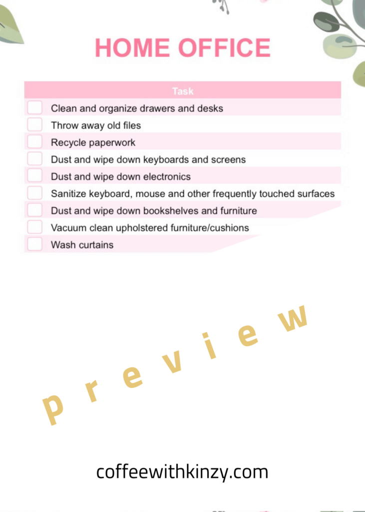 Home Office Deep Cleaning Printable Checklist
