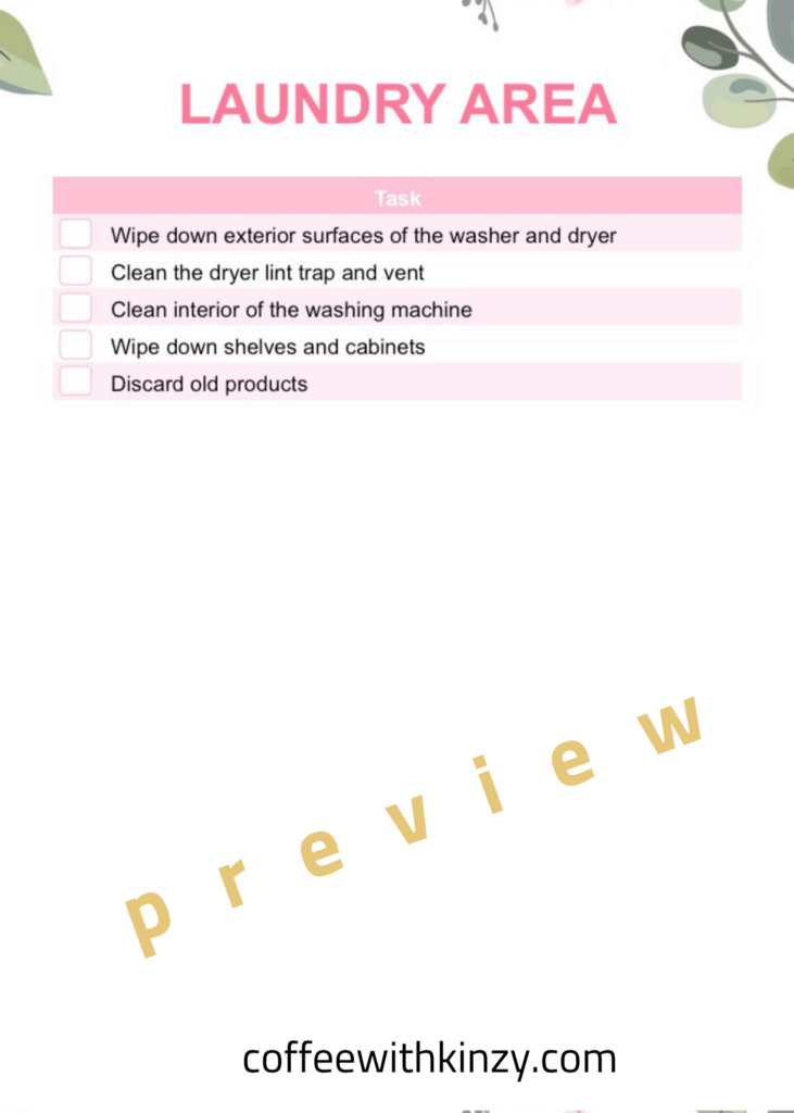 Laundry Area Deep Cleaning Checklist PDF